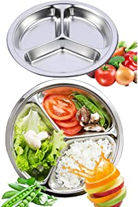 AIYoo Round Divided Plates 2 Pack 304 Stainless Steel Mess Trays 9.5 Inch 3 Sections Food Plate for Kids,Camping, Lunch and Dinner or Every Day Use