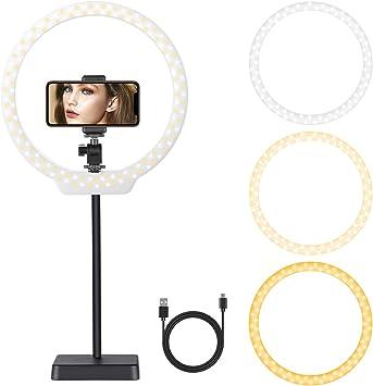 Todo para el streamer: Neewer USB LED Luz Anillo 26cm 5W/10W Regulable Bi-Color 3200-5500K con Soporte de Cámara Tubo Suave Abrazadera de Teléfono para Video Youtube Maquillaje