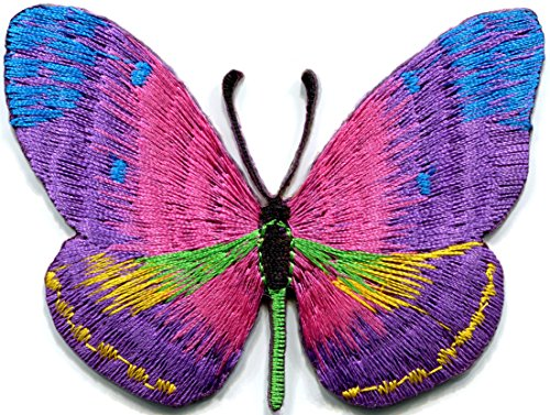 Butterfly insect boho hippie retro love peace embroidered applique iron-on patch (Iron On Patches Appliques)