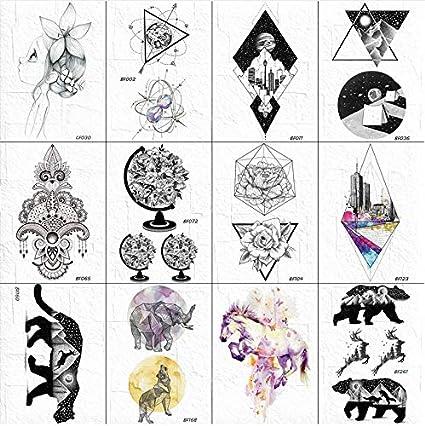 yyyDL Tatuaje temporal negro pegatina mujer mano brazo globo flora ...