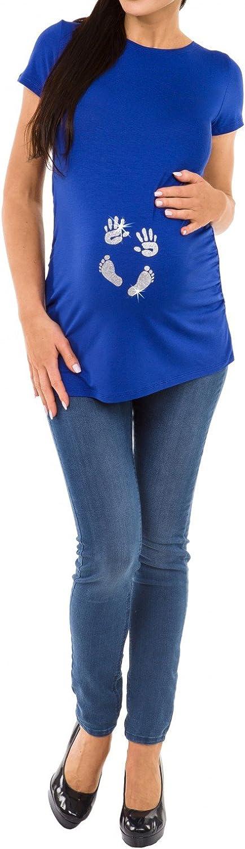 013p Donna Maglietta Premaman Top T-Shirt Mani e Orma del Bambino Happy Mama
