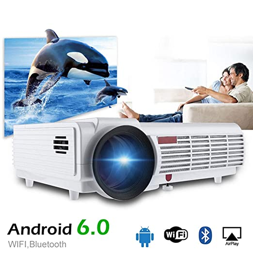Lvreby Proyector, Cine en casa, 5500 lúmenes Android 6,0 Soporte ...