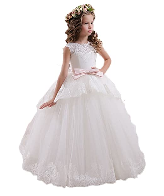 VIPbridal Cordón Tulle vestidos de niña para las niñas V Vestidos de la comunión trasera (