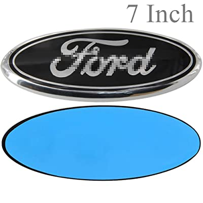 Shenwinfy 7 Inch Front Grille Tailgate Emblem for Ford, 3D Oval Adhesive Badge for Ford Escape Edge Explorer Fusion Excursion Expedition F150 F250 F350 F450 F550 (Black): Automotive