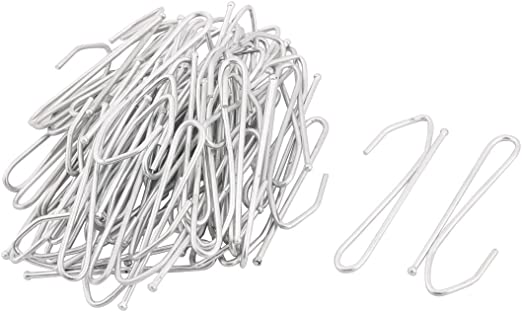 100 x ZINC SILVER CURTAIN HOOKS Strong Metal Header Tape Pencil Pleat NEW