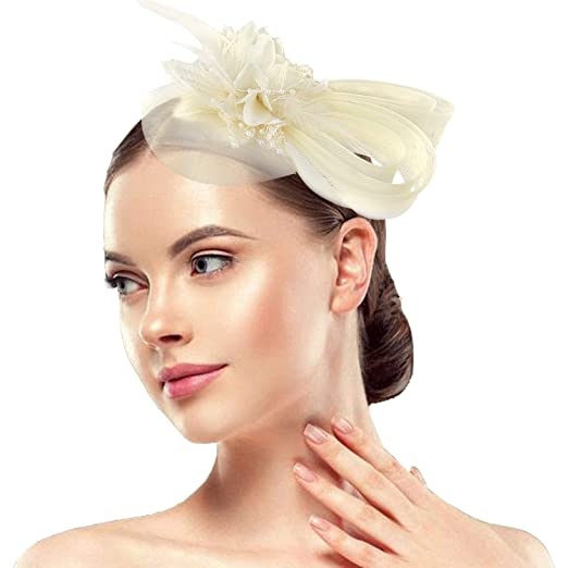 ded67ea9 Acecharming Fascinators for Women, Feather Sinamay Fascinators with  Headbands Tea Party Pillbox Hat Flower Derby