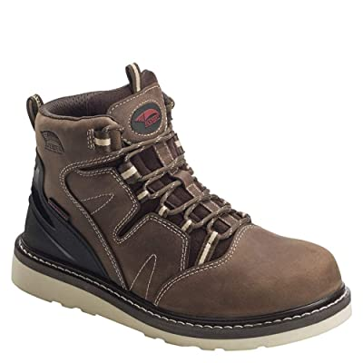 "Avenger Safety Footwear Men's Leather Wedge 6"" Soft Toe Waterproof Work Boot, Brown, 7 W US: Clothing"
