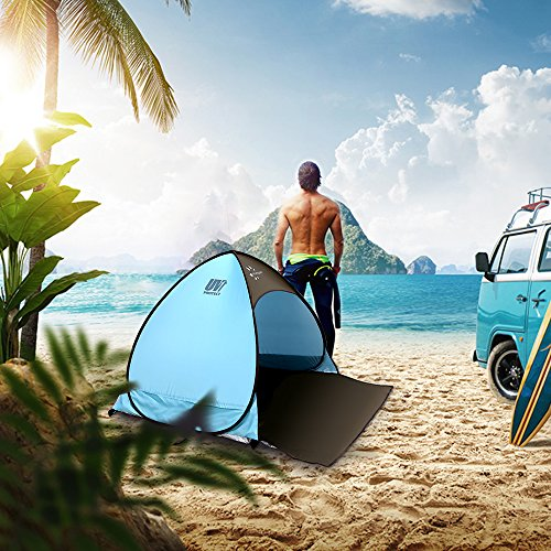 FRUITEAM Pop Up Sun Shelter, Beach Tent Instant Portable Cabana Tent Lightweight UV Protection Beach Canopy for 2-3 Person