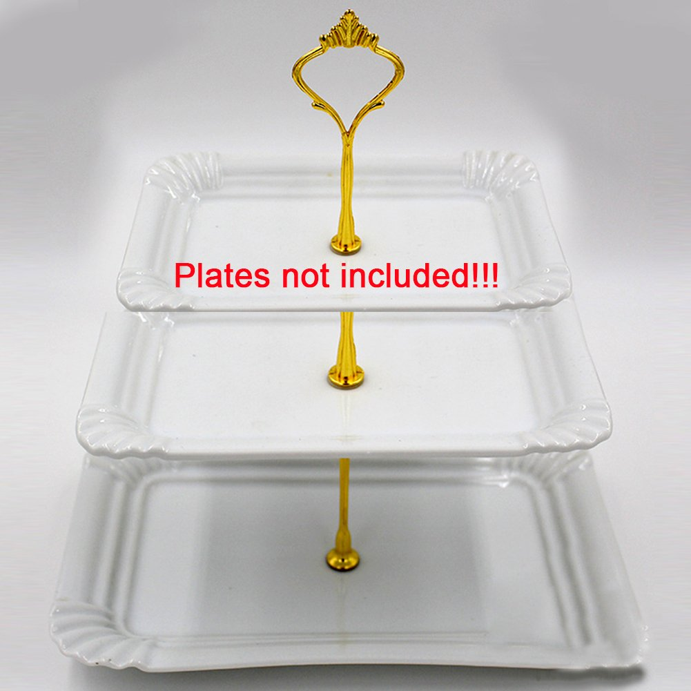 3 Tier Cake and Pastry Stand Server,Cupcake Stand Cake Dessert Appetizer Decoration Centerpiece For Weddings, Tea Party, Holiday Dinners, or Birthday Parties (Golden) by INLAR (Image #6)