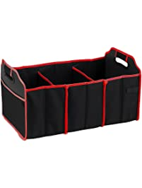 Z-COMFORT Super saver 3-compartment car trunk organizer suitable for indoor use - 1 pack - black/red, 0.30 Pound