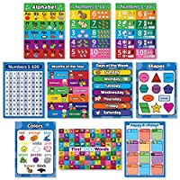 10 Laminated Toddler Educational Posters - ABC - Alphabet, Numbers 1-10, Shapes, Colors, Numbers 1-100, Days of The Week, Months of The Year, Birthday (18 x 24)