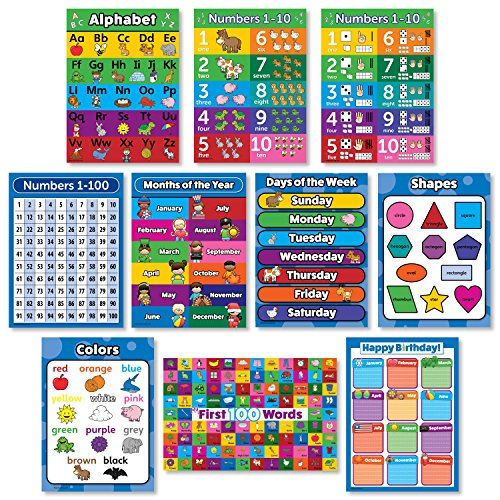 Learning Charts Classroom Material - 10 LAMINATED Toddler Educational Posters - ABC - Alphabet, Numbers 1-10, Shapes, Colors, Numbers 1-100, Days of the Week, Months of the Year, Birthday (18 x 24)