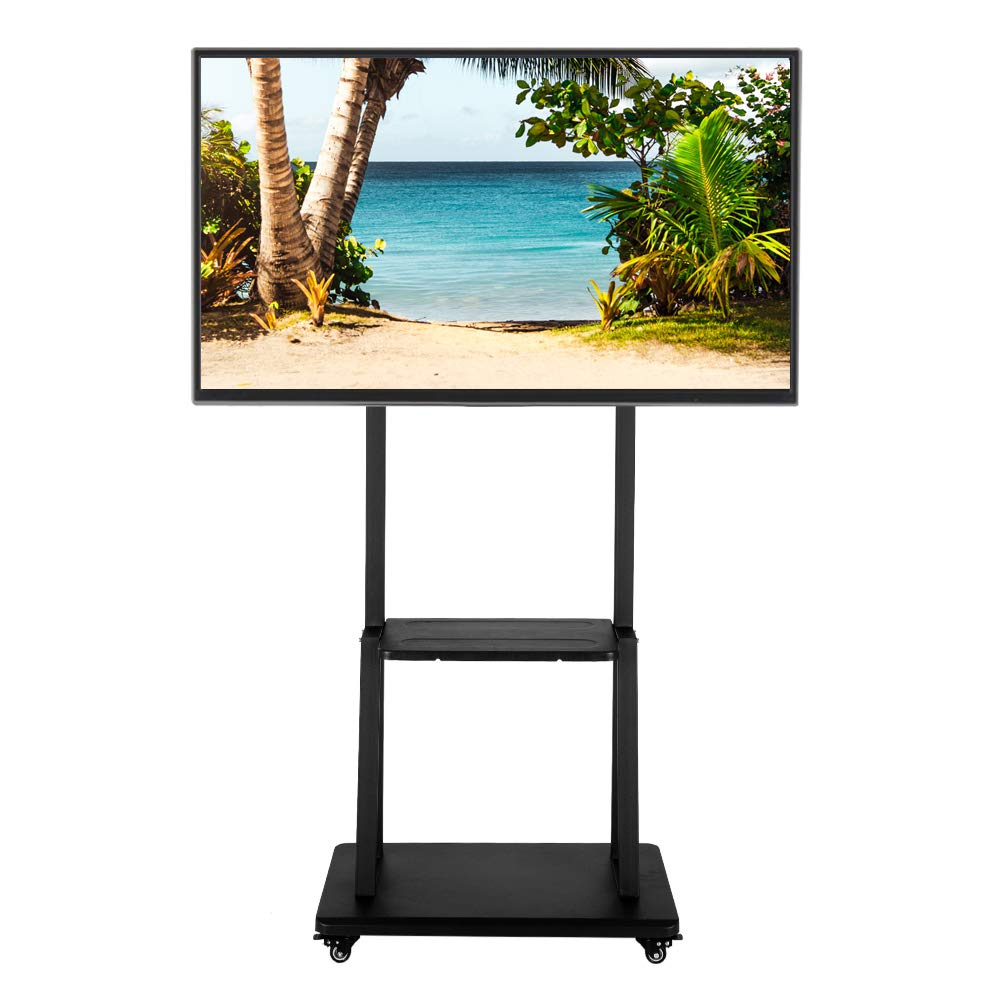 HELLOLAND Mobile TV Stand with Mount Heavy Duty Universal Rolling TV Trolley Cart Trolley Fits for 40-80'' LED LCD TVs with Shelf and Mount Max Load 176lbs, Black (40-80'')