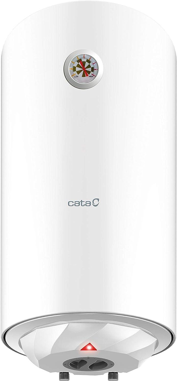 Cata | Termo eléctrico 50 L | Calentador de agua modelo CTR-50-M | Instalación vertical | Tanque esmaltado al titanio vitrificado a 850° C | 770 x 385 x 385 mm