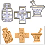 SET of 3 Pharmacy themed cookie cutters (Pharmacy Logo, Pestle and Mortar, and Pill Bottle), 3 pcs, Ideal gift for pharmacists or chemists)