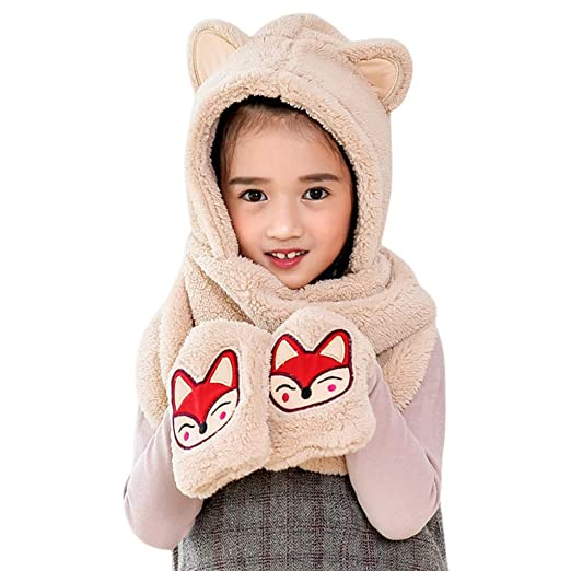 82a5ca0db0a2 Amazon.com  Lovely Baby Kids Cartoon Multifunction Warm Hats 🎅 3 in ...