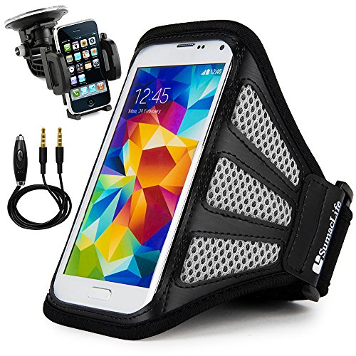 Price comparison product image Sweatproof Mesh Arm Belt Bag [Adjustable hook-and-loop fastener Strap] Gym or Outdoor Sports Armlet Case Black/Gray for Samsung Galaxy S8 / C5 Pro / J1 / J3 / A5 / A3 + Car Holder + Audio Plug Cable