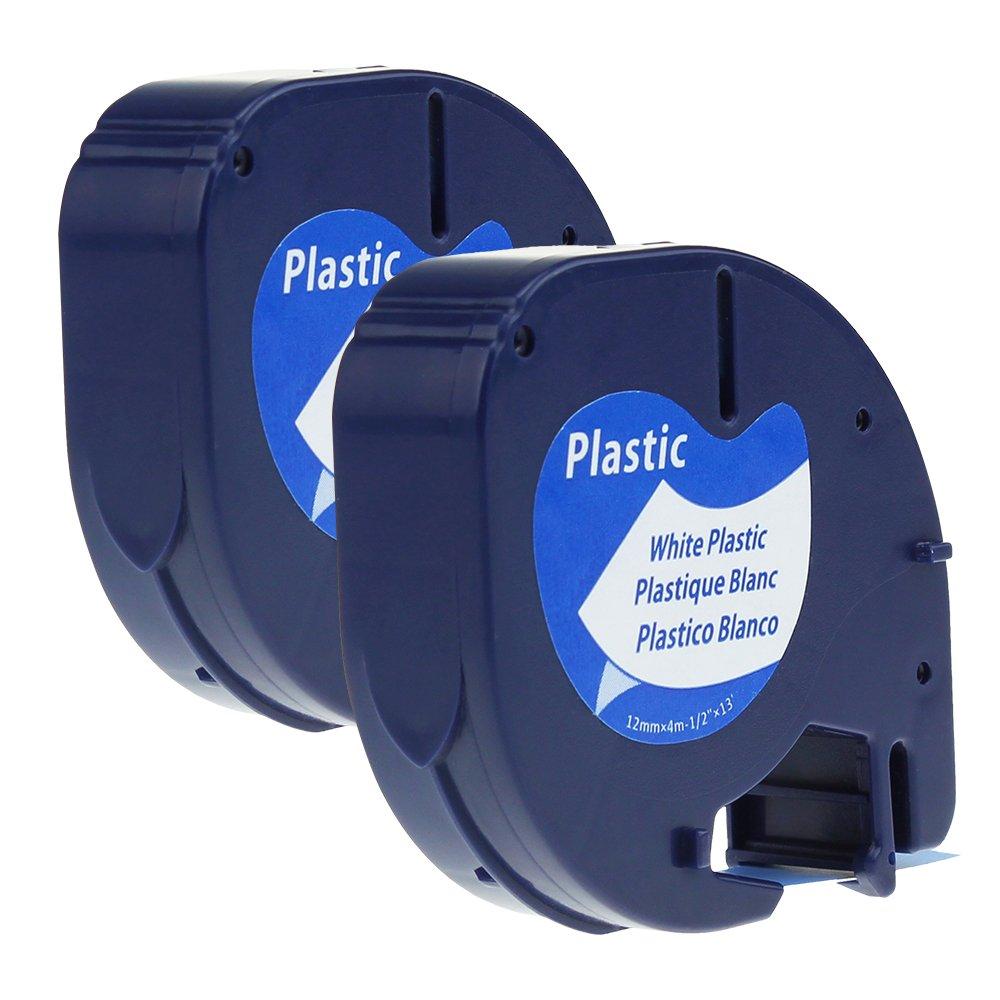 2 Rubans LetraTag d/étiquettes en Plastique Cassette /à Cartouches 91201 S0721610 Compatible avec les /étiqueteuses Dymo LetraTag LT-100H LT-100T QX 50 2000 Noir sur Blanc 12 mm x 4 m
