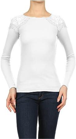2LUV - Camiseta térmica de Manga Larga para Mujer con Encaje de Ganchillo: Amazon.es: Ropa y accesorios