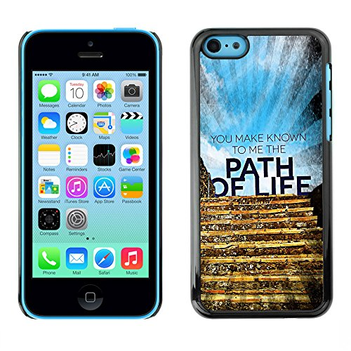 DREAMCASE Citation de Bible Coque de Protection Image Rigide Etui solide Housse T¨¦l¨¦phone Case Pour APPLE IPHONE 5C - YOU MAKE KNOWN TO ME THE PATH OF LIFE
