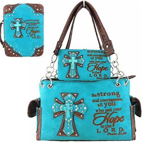 Western Cowgirl Purse Handbag Cross Scripture Psalm Bible Cover Shoulder Bag Wallet 3 IN 1 Set - Turq Cross
