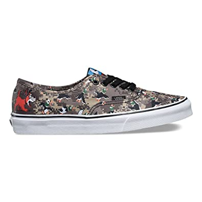 vans x nintendo. vans authentic x nintendo duck hunt/camo skate shoes size 3.5 men/5