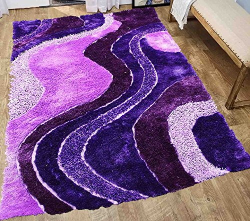 Home Shimmer Shag Purple Lilac Plum Lavender Area Rug, Hand-Tufted, Hand Made ~5ft' x 7ft' (Signature New 72 Purple)