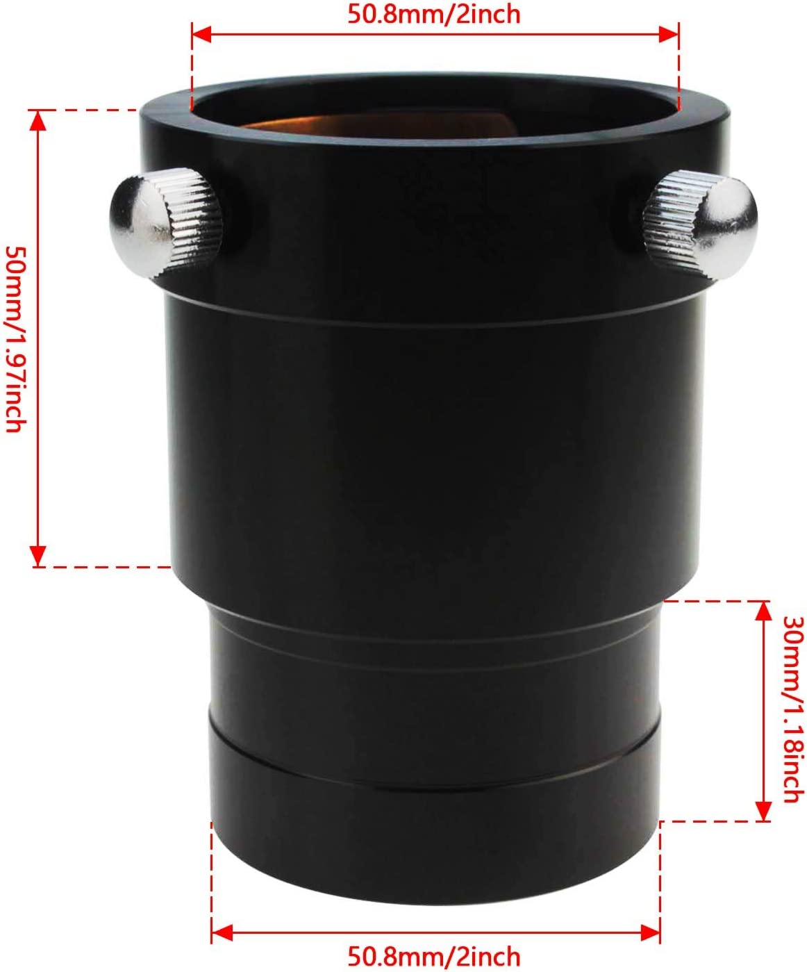 Astromania 2-Inch Telescope Eyepiece Extension Tube Adapter Optical Length 35mm with Standand 2-Inch Filter Threads