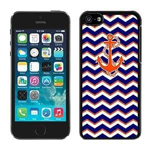 BINGO most popular Chevron Pattern Blue With Anchor iPhone 5C Case Balck Cover