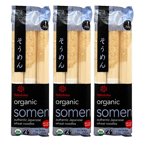 Somen Noodles - [ 3 Packs ] Hakubaku Organic Somen Japanese Wheat Noodles, No Salt Added, 9.5-Ounce
