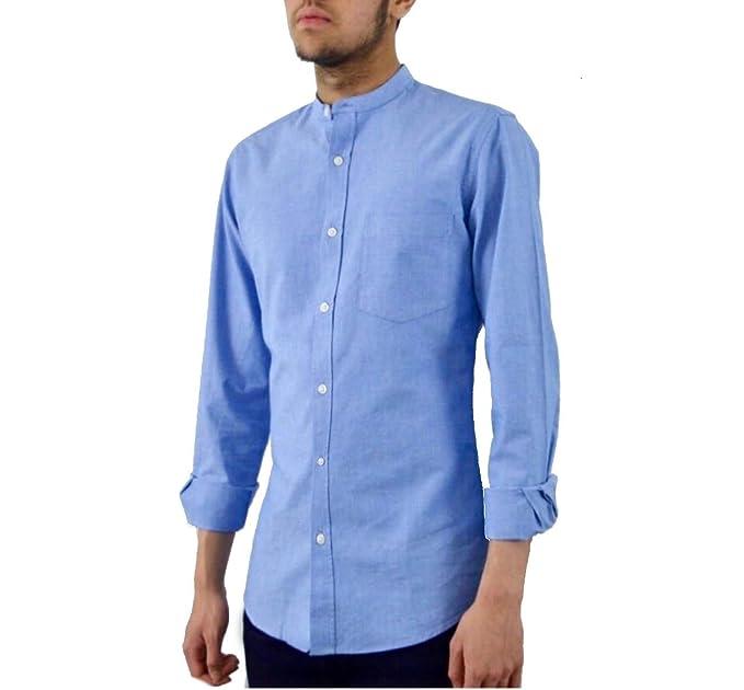 32e753eea Popoqo Mens Grandad Collar Shirt Collarless White Oxford Shirt Long Sleeved  Blue Band Collar Shirt Slim