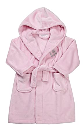 Amazon.com: Girls Pink Winter Robe / Dressing Gown with Stars Detail ...