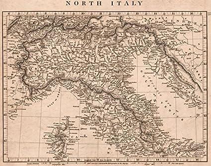 Map Of North Italy.Amazon Com Northern Italy Papal States Sardinia Lombardy Tuscany
