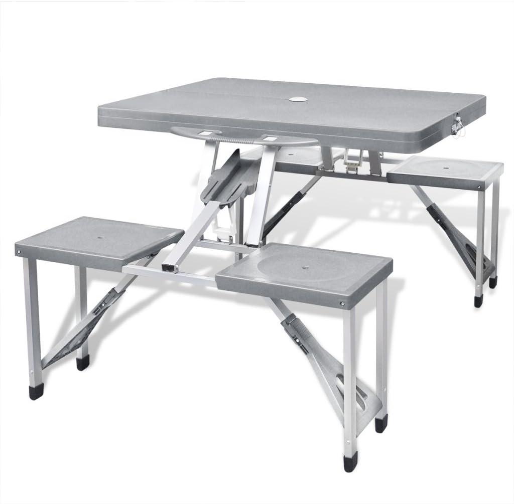 Anself Jeu de table de camping pliable avec 4 tabourets Aluminium