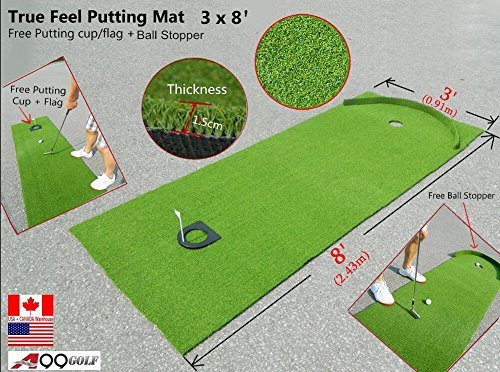 A99 Golf Indoor/outdoor Putting practice combo – True Feel Putting Mat (8′ long) + putting cup+ball stopper