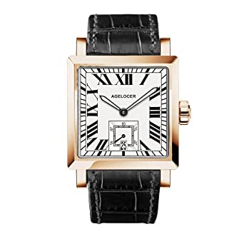 2b97685b9 Luxury Square Watches for Men Rose Gold Genuine Leather Strap Mechanical  Watch with Date 3302D1 (