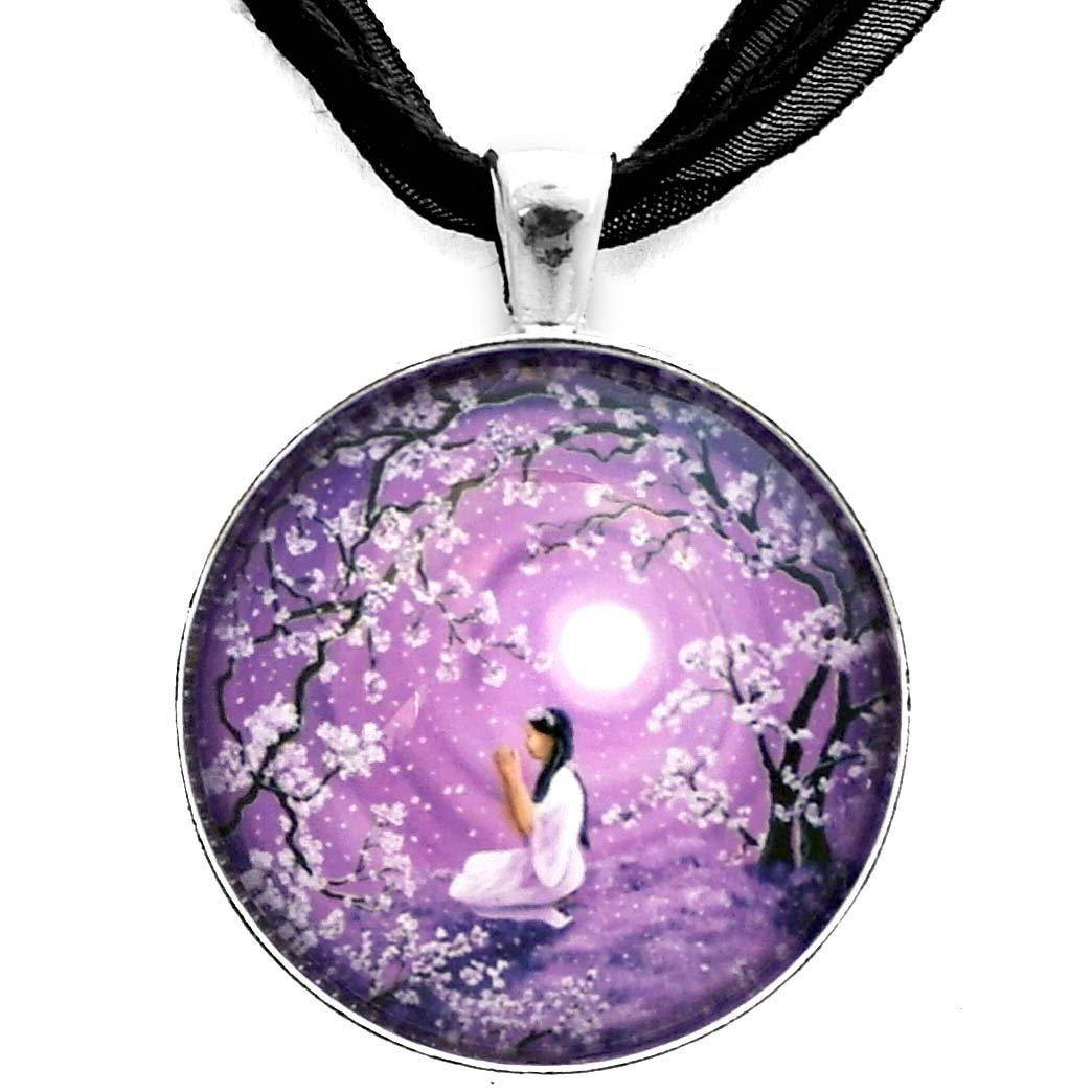 Moon Black Raven Cabochon Glass Tibet Silver Chain Pendant  Necklace