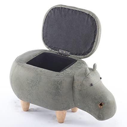 Amazon.com: Solid Wood Footstool Creative Hippo Shoes Bench ...