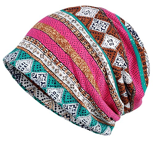 - Qiabao Women's Soft Comfy Printed Slouch Beanie Cap Hat (Rose)