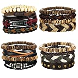LOYALLOOK 16pcs Mens Leather Bracelet Wrap Cuff Bracelets with Hemp Cords Wood Beads Ethnic Tribal Believe Charm