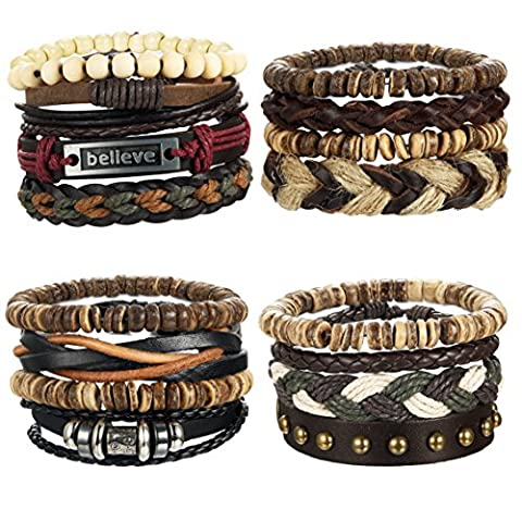 LOYALLOOK 16pcs Mens Leather Bracelet Wrap Cuff Bracelets with Hemp Cords Wood Beads Ethnic Tribal Believe - Bracelets