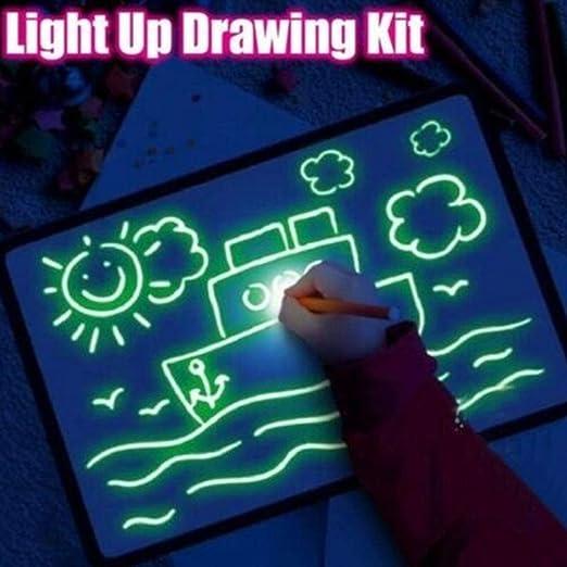 HELEVIA - Caja de luz LED para mesa de discoteca (ultrafina, animación para dibujar, para niños, artistas, esbozar, plantillas): Amazon.es: Juguetes y juegos
