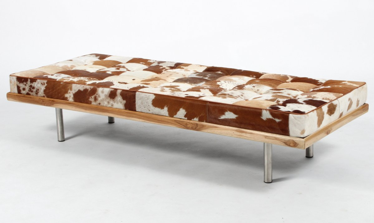 Second May Modern Leather Daybed/Mies Couch Upholstery Buff Leather with Heavy Duty Wooden Frame and Metal Legs, Multicolor, 178 x 69 x 38 cms