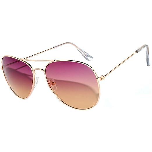 217a49ab4b53 Aviator Oversized Women Men Metal Sunglasses Fashion Designer Frame Colored  Lens OWL (064 C1 Purple Brown
