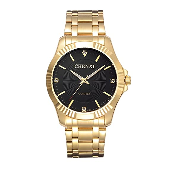 Amazon.com: CHENXI Mens Fashion Classic Quartz Analog Steel Gold Wrist Watch(Black): Watches
