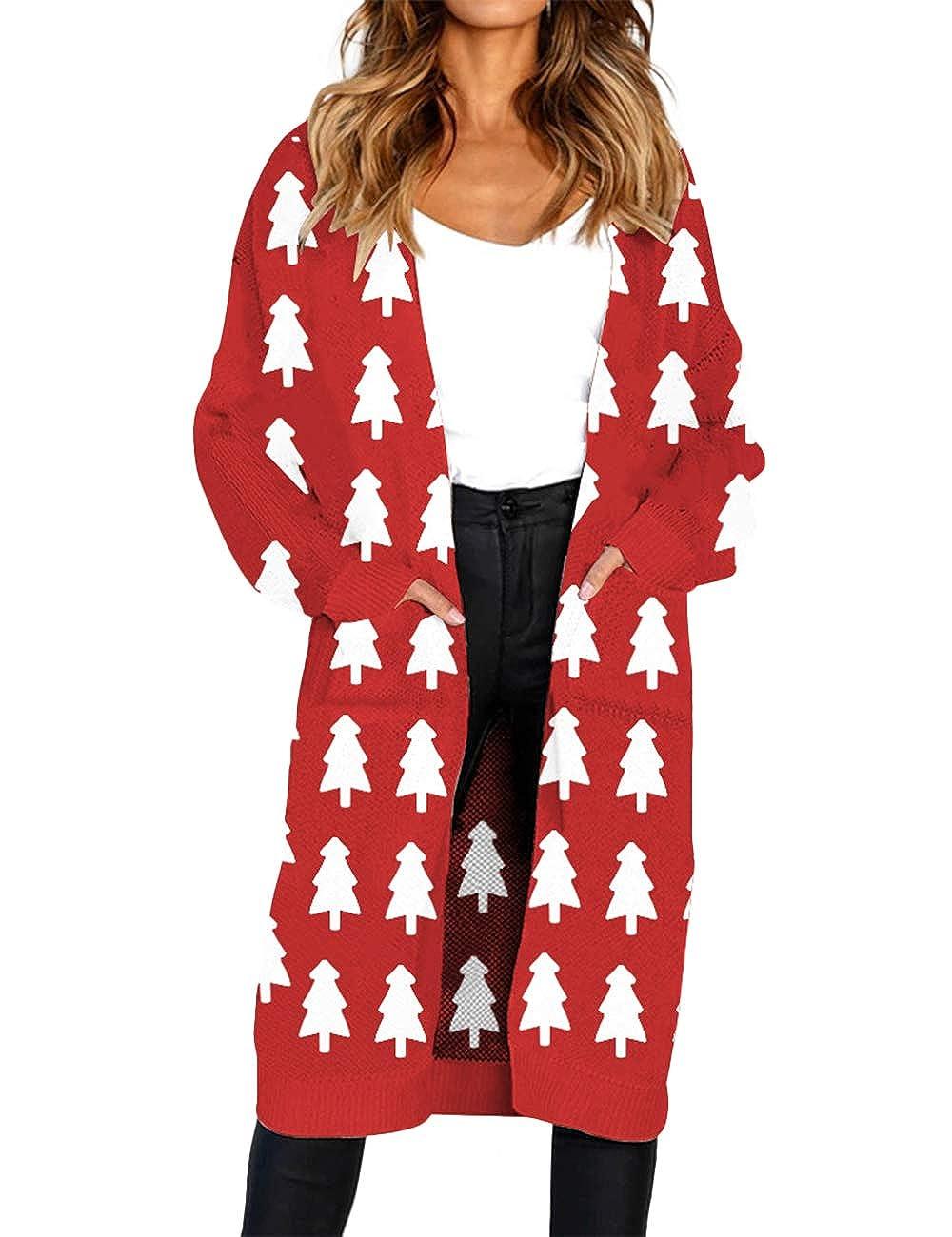 Lrud Women Christmas Cardigan Sweater Xmas Open Front Knitwear Jumper Dresses