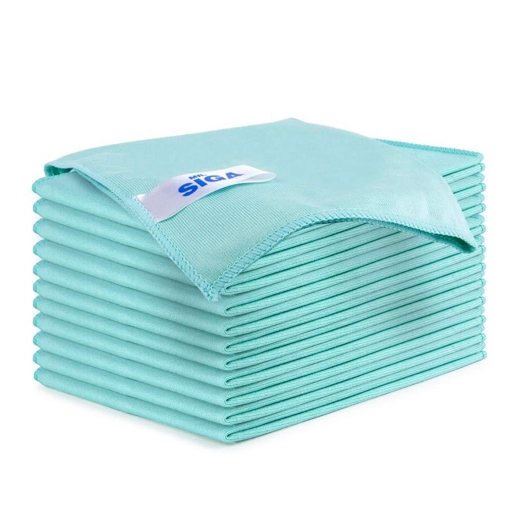 MR.SIGA Ultra Fine Microfiber Cloths for Glass, Pack of 12, 35 x 40cm 13.7'' x 15.7''