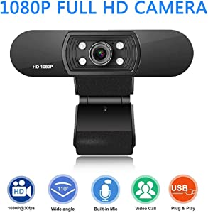 Webcam with Microphone - 1080P HD Webcam Streaming Computer Web Camera - USB Computer Camera for PC Laptop Desktop Video Calling, Conferencing Compatible with Windows 10, 8, 7, XP and Mac OS X