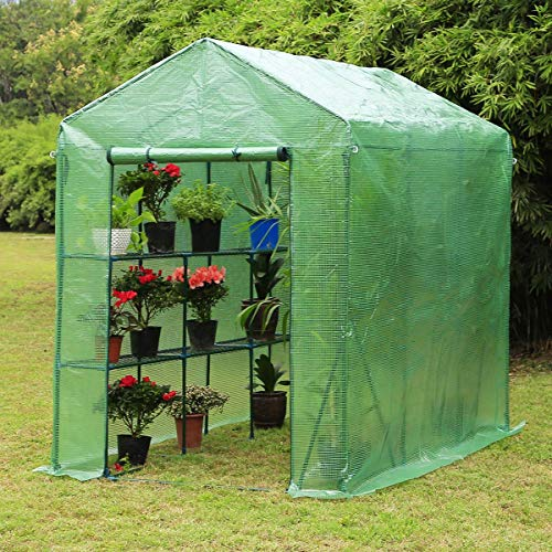 Erommy 84″ W x 56″ D x 77″ H Mini Walk-in Greenhouse,Indoor Outdoor Plant Gardening, 2 Tier 6 Shelves Hot House for Flowers, Plants and Vegetables,Green