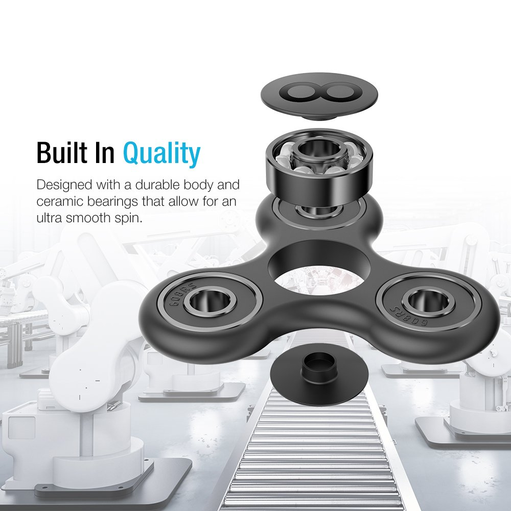 Easy Flick and Spin with Single//Both Hands Toys Perfect for Anxiety Maxboost Tri-Spinner Fidget Spinner Focus Finger Toy Stress Reducer for Kid and Adult Autism Spin Single//Both Hands Finger Prime Figit Toys Perfect for Anxiety Premium Bearing